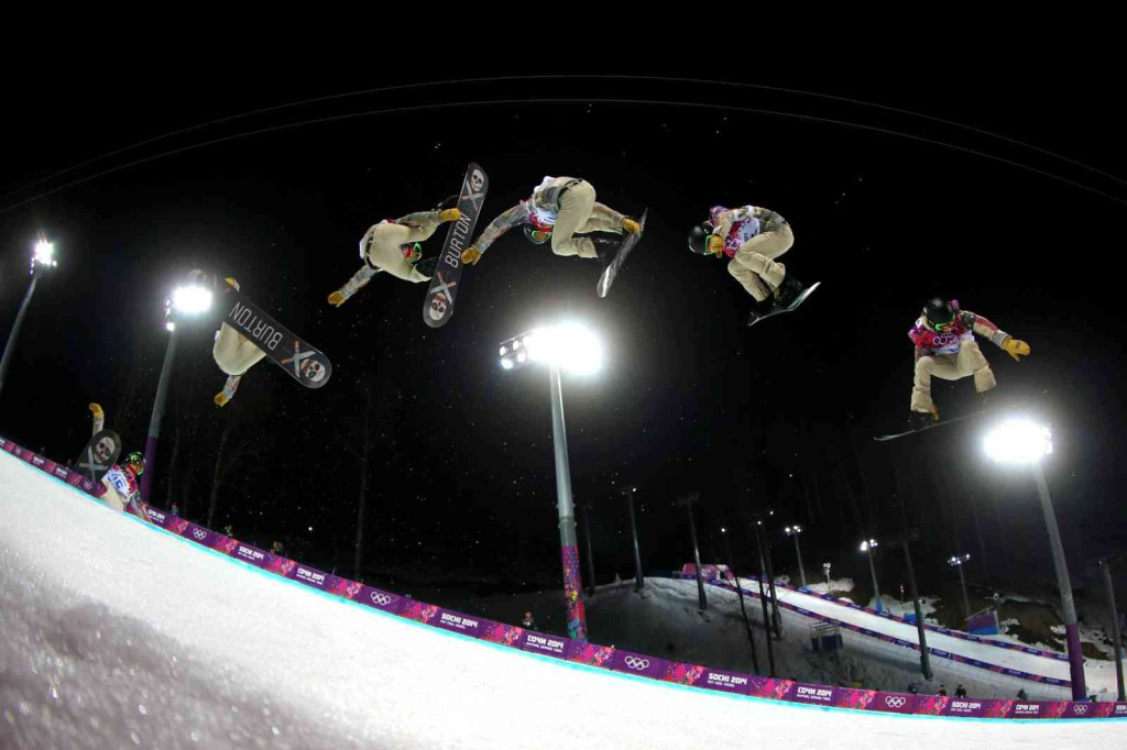 SOCHI, RUSSIA - FEBRUARY 11:  (EDITORS NOTE: Multiple exposures were combined in camera to produce this image.) Shaun White of the United States practices before the Snowboard Men's Halfpipe Finals on day four of the Sochi 2014 Winter Olympics at Rosa Khutor Extreme Park on February 11, 2014 in Sochi, Russia.  (Photo by Mike Ehrmann/Getty Images) ORG XMIT: 461604893